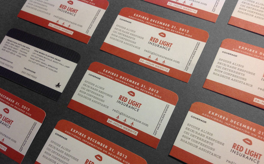Red Light Insurance Business Card Design